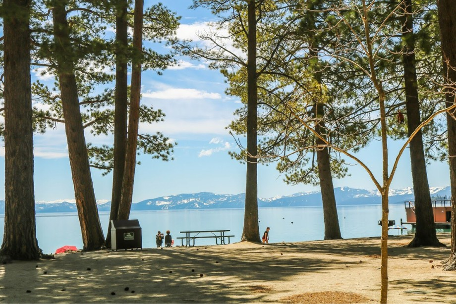 This is a photo of Lake Tahoe. I like how the lake is behind the trees and how the sand has shado...