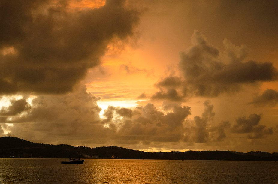 Unique cloud structures over Fairfax Harbour near Port Moresby, Papua New Guinea.