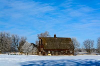 Snowy Barn Landscape.