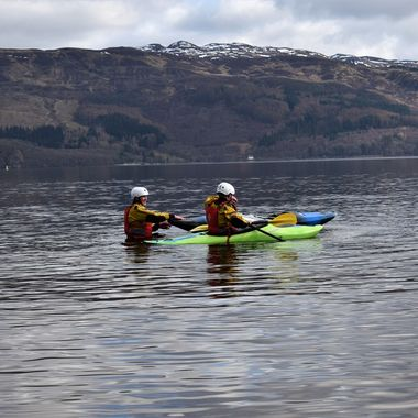 Two Canoeists enjoying a day out on Loch Lomond