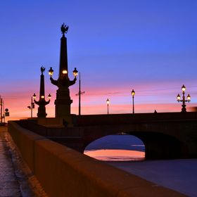 Troitskiy bridge at sunset. Saint Petersburg, Russia