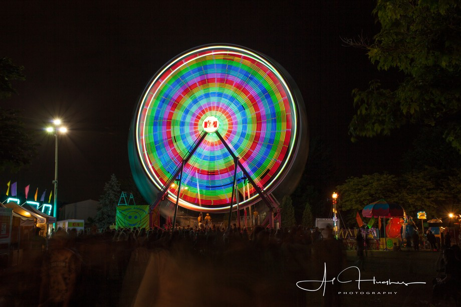 A long exposure shot of the ferris wheel from the Lasalle Strawberry Festival