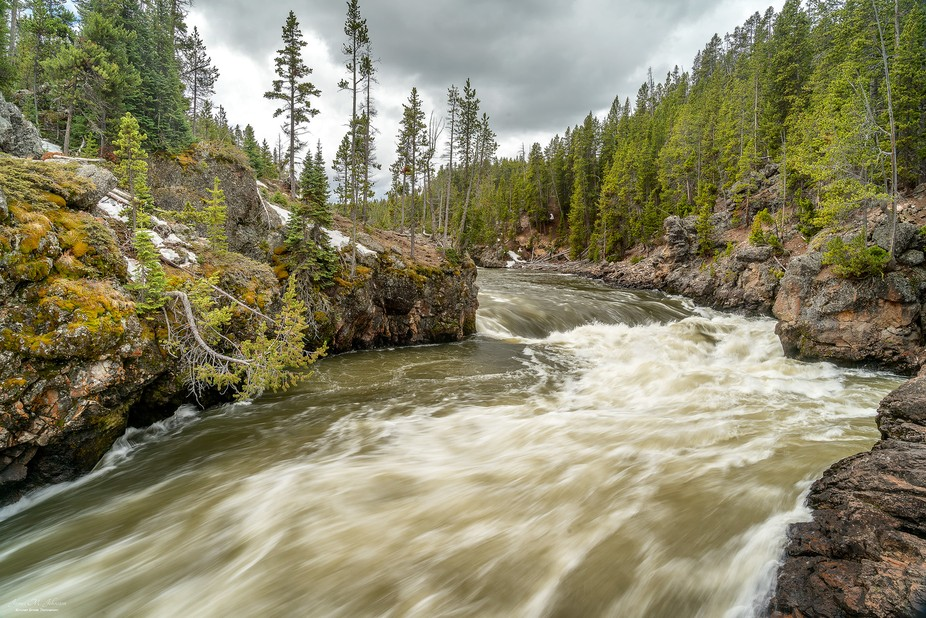 """One of three images of the Yellowstone River as it reaches the """"Brink of the Falls&q..."""