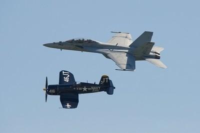 F18 shadowing Navy single prop