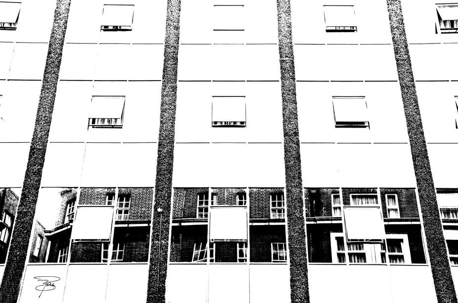 Un palazzo di Dublino visto in bianco e nero