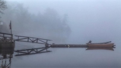 Waiting - morning fog at Lowell's Boat Shop on the Merrimack River