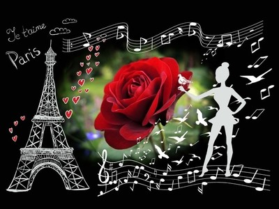 "The collage poster "" Je tu aime Paris "". Photo1."