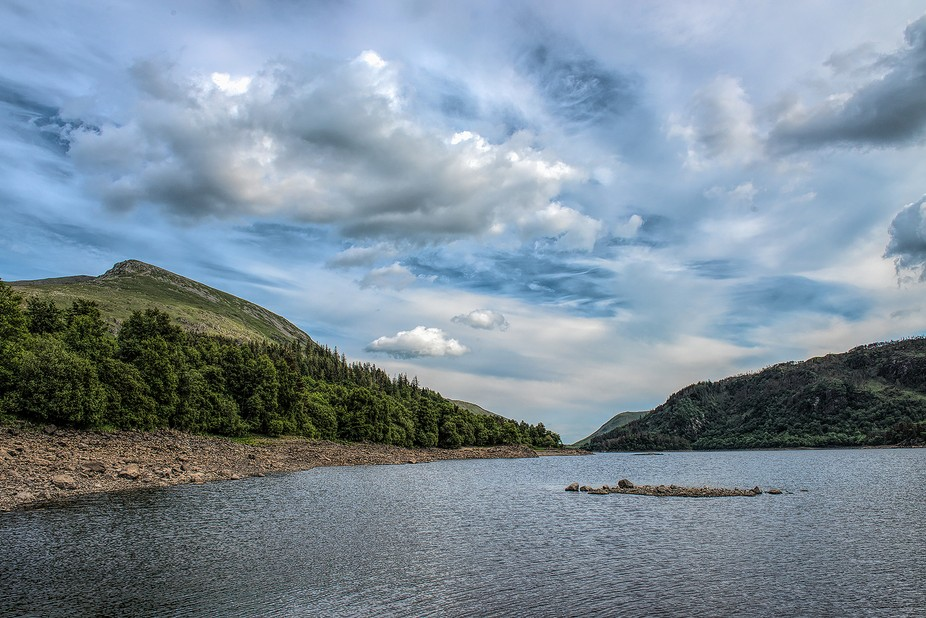 Looking along the banks of Thirlmere  in the Lake District