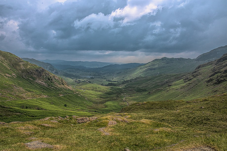 Looking back down Wynrose Pass  in the Lake District