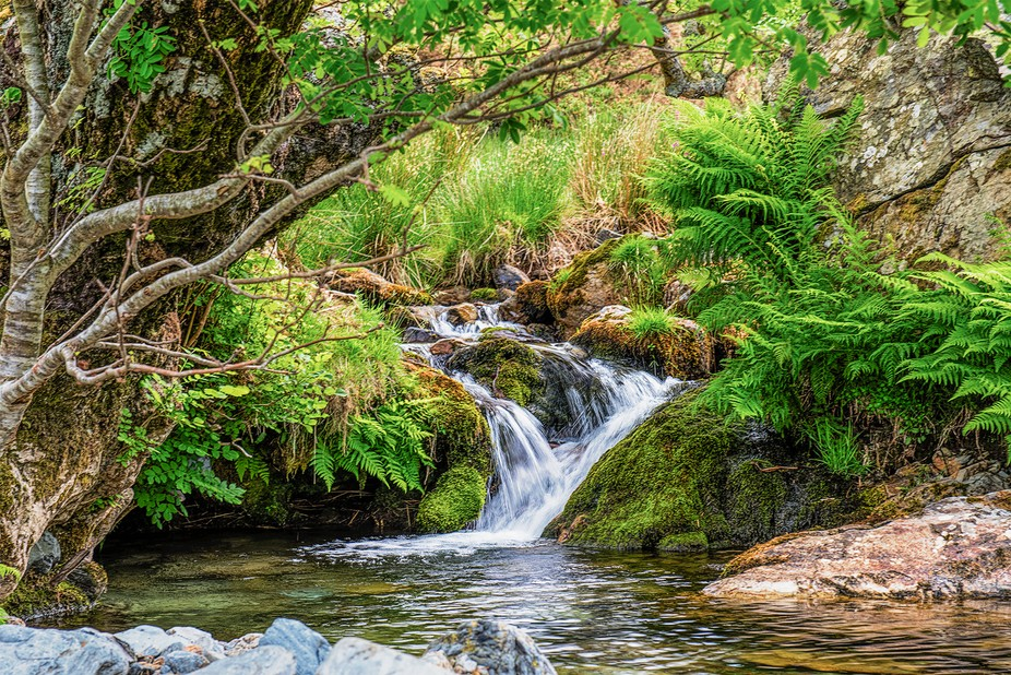 Small stream and waterfall which then runs down into Crummlock water in the Lake District