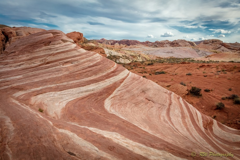 The Fire Wave rock formation at the Valley of Fire State Park in Nevada.