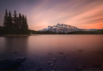 Sunset at Two Jack Lake.
