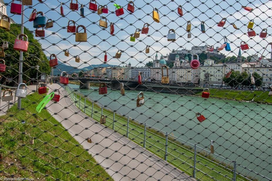 "Salzburg from the ""bridge of love"""