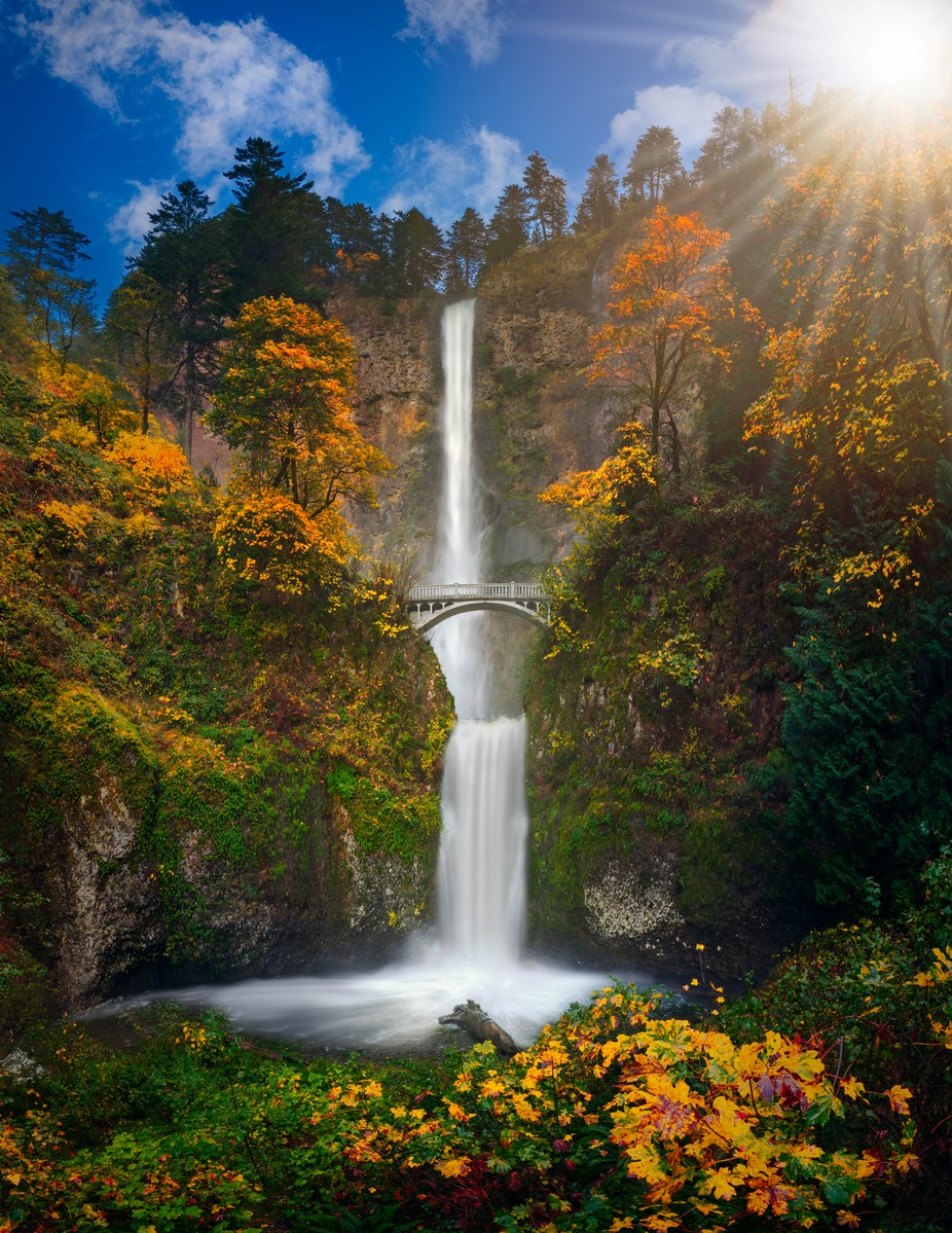 Multnomah Falls in Autumn colors by Freebilly - The Natural Planet Photo Contest
