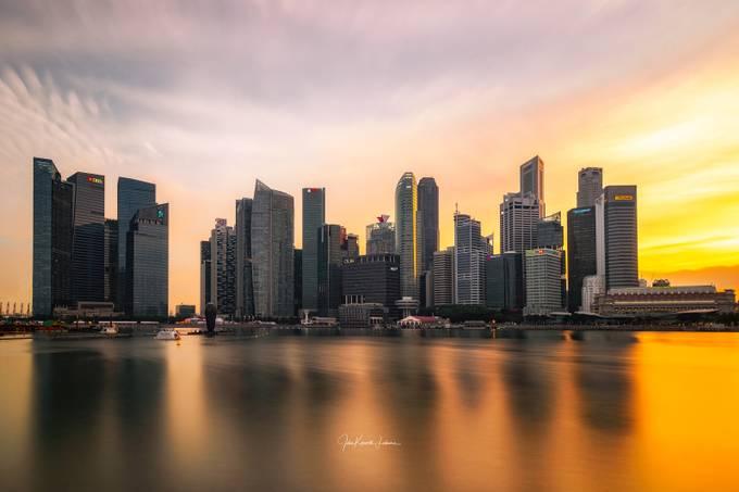 Singapore Skyline by johnkimwell - Sunset And The City Photo Contest