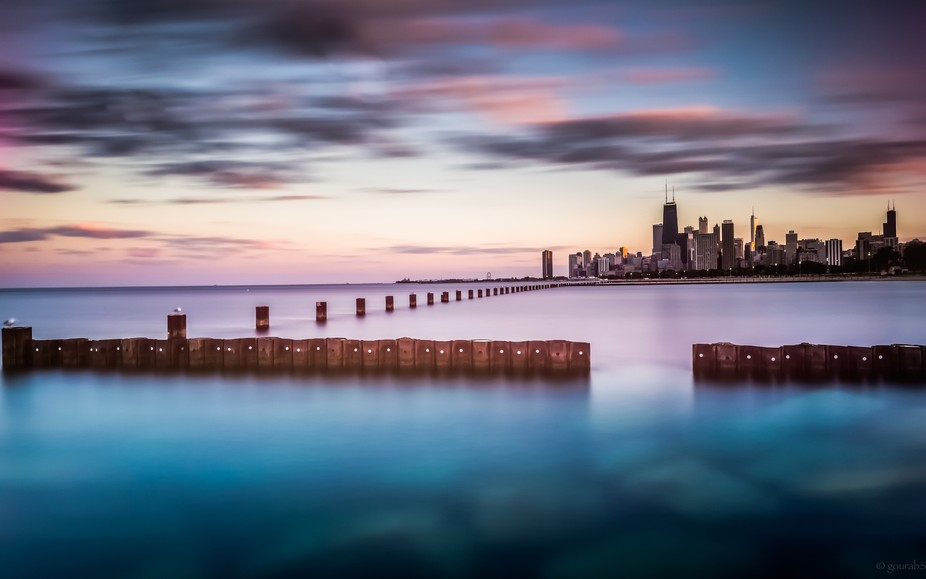 A long exposure of the Chicago skyline from the banks of Lake Michigan