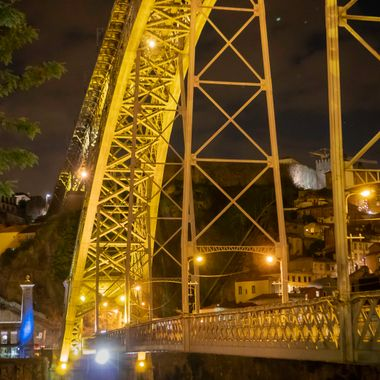 Night shot of the Dom Luis Bridge in Porto Portugal.