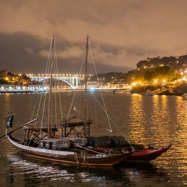 Night shot of the Doro River in Porto Portugal.