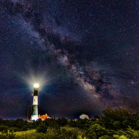 The Milky Way over the Fire Island Lighthouse on Long Island, NY.