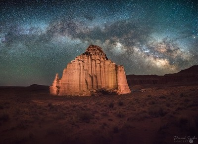 "Temple Of The Moon MIlky Way  This image was taken in a remote area of Capitol Reef National Parkin Utah.   The ""Temple"" was lit using 5 separate static LED lights.  This particular image is a 5-panel panorama stacked with 9 frames per panel for a total o"