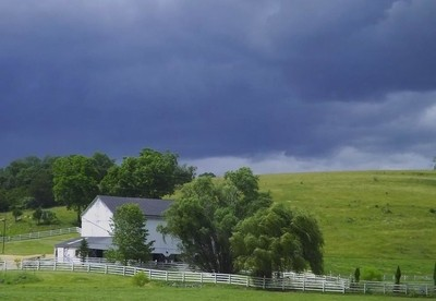 Storm Building Up Over Farmland