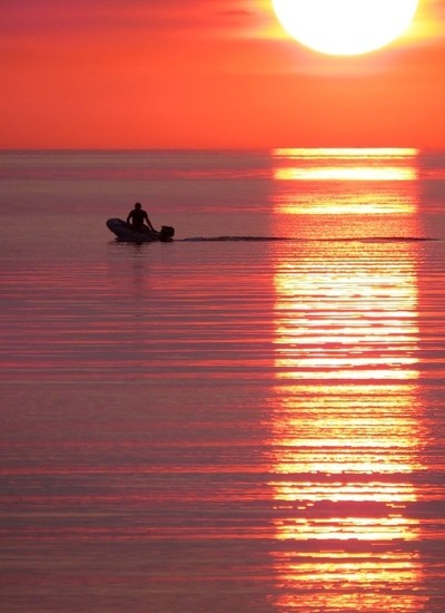 Fisherman. in the sunset.