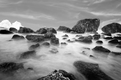 Indian Beach, Ecola State Park, Oregon, In Black And White