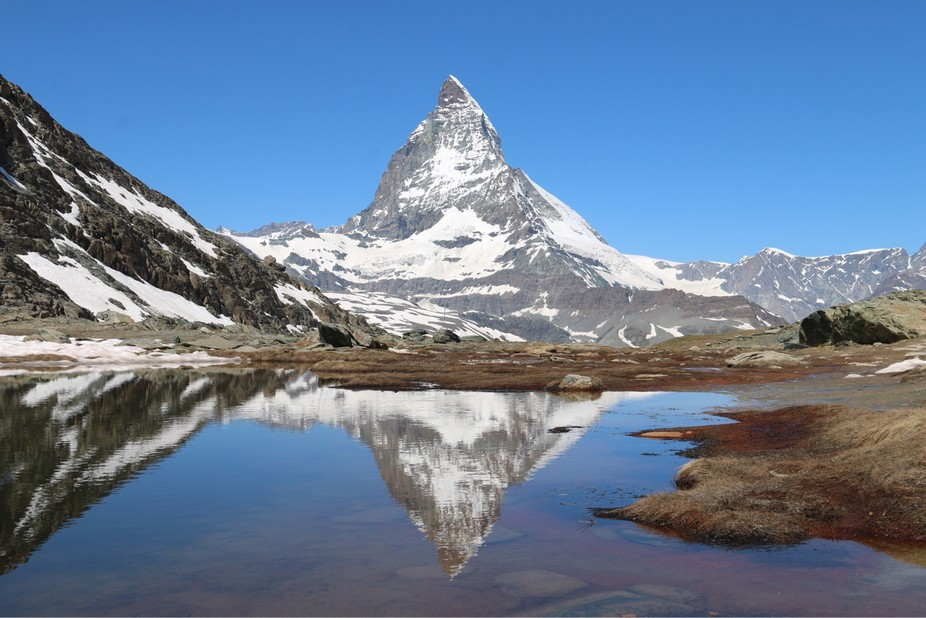 The Matterhorn or Monte Cervino, is located on the border of Switzerland with Italy