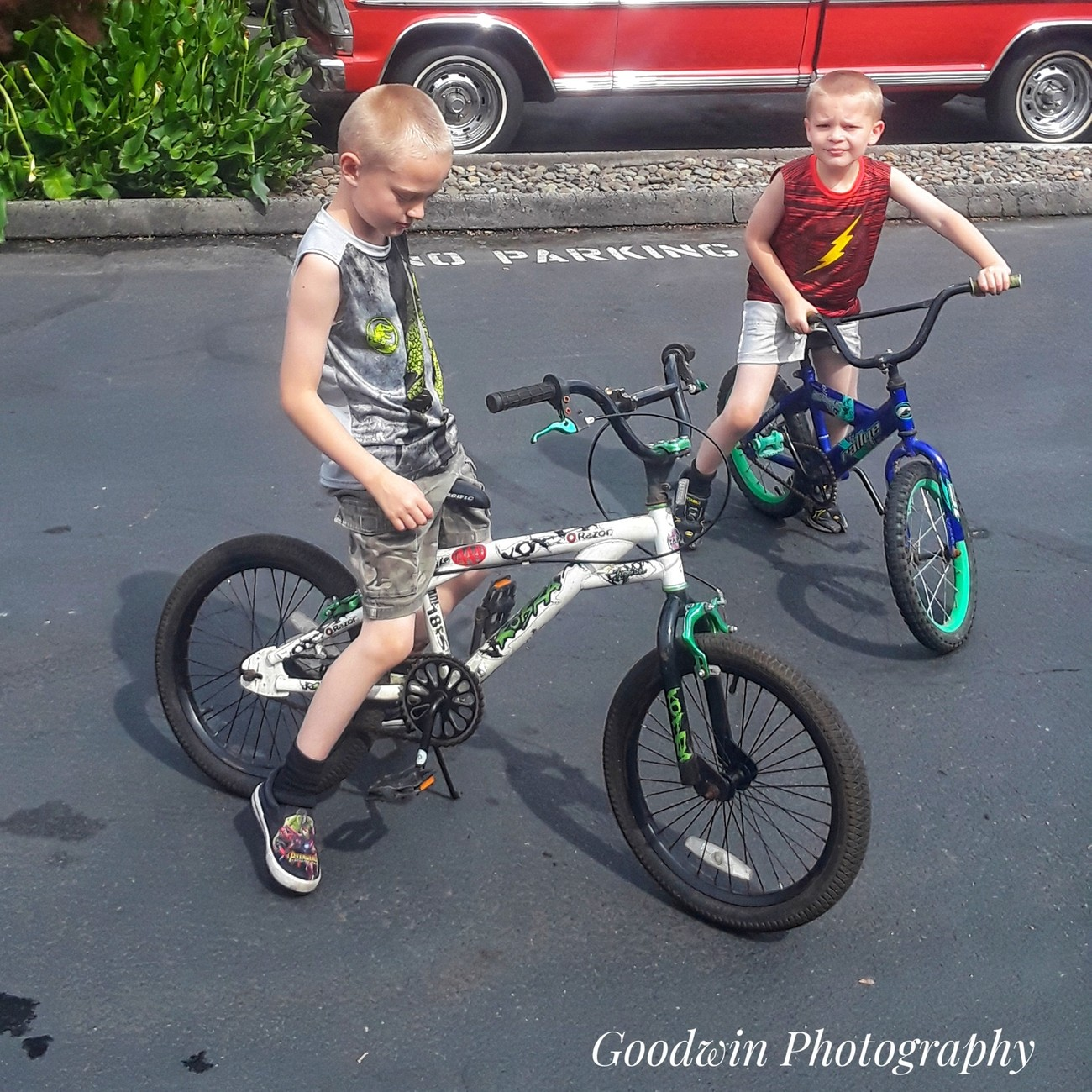 We had the one bike, (blue one) but just found someone giving away the white one, so now they both have bikes.