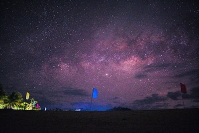 Agho Beach, Iloilo, Philippines at night. Summer, beach, and dark skies are the perfect ingredients to expose the edge of the Milkyway Galaxy which is visible to the naked eye down here, in earth. ????