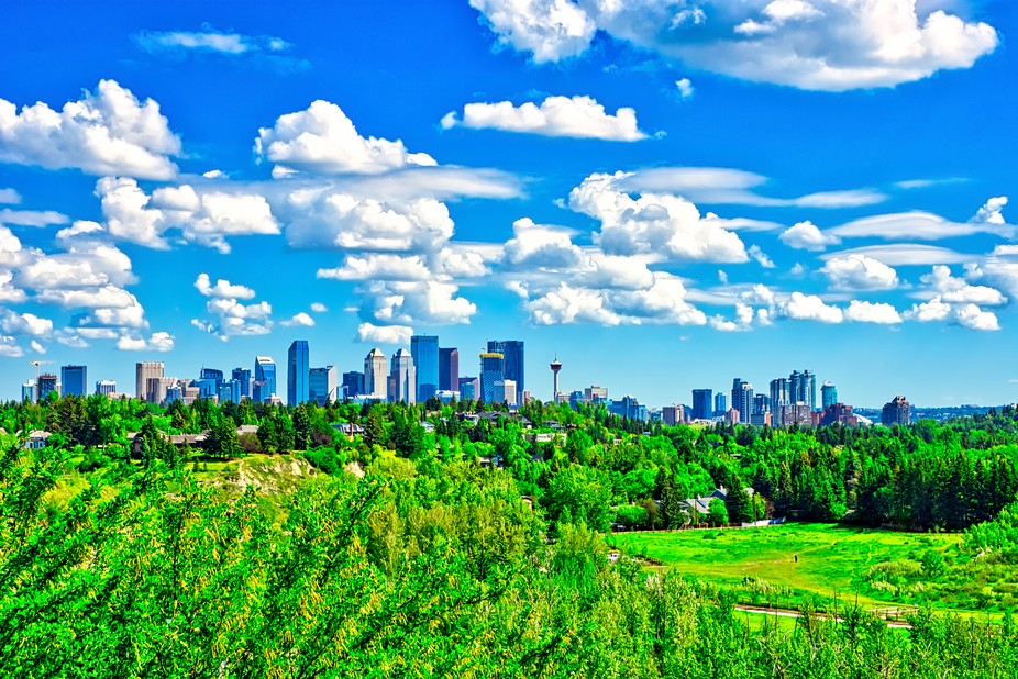 The Downtown Calgary skyline as seen from River Park.