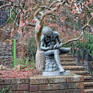 Statue of Boy Removing Bindii Weed From His Foot - Everglades Garden, Leura, NSW