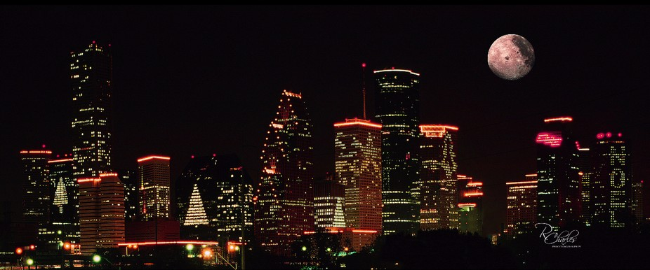 This is the Houston skyline at Christmas obviously. A friend blocked an overpass so I could use a...
