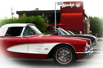 Sunset Stunning Red-White 1961 Corvette 3-4 RF and Classic T-Bird (4299) Wendy's Car Show Hackettstown, NJ 6-21-2018.