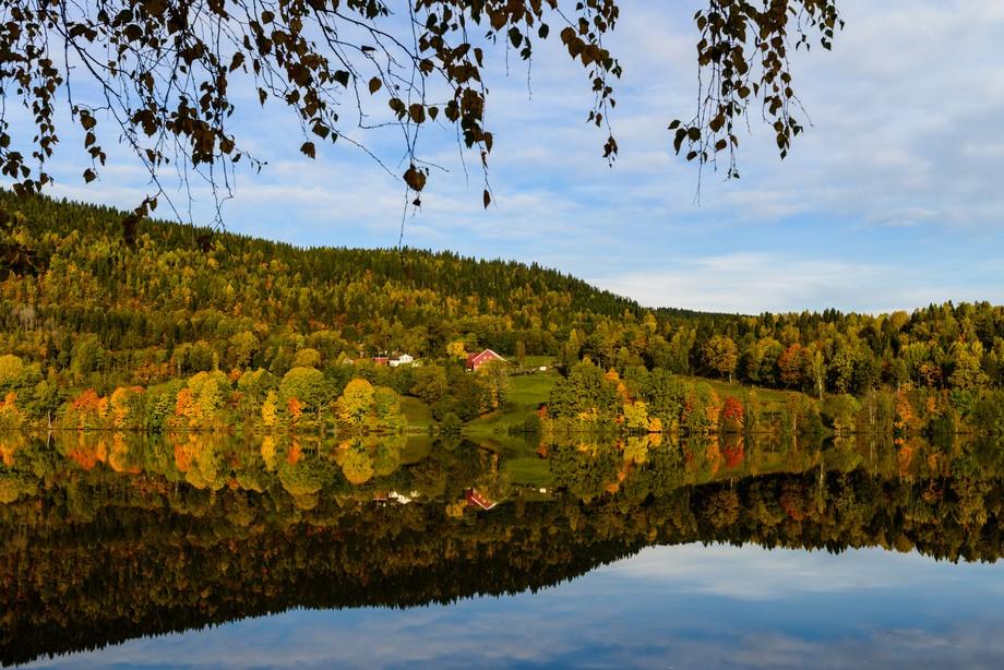 Perfect Autumn reflection at Sem lake
