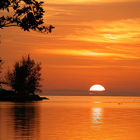 Beautiful Orange Color Sunset at key West, Florida
