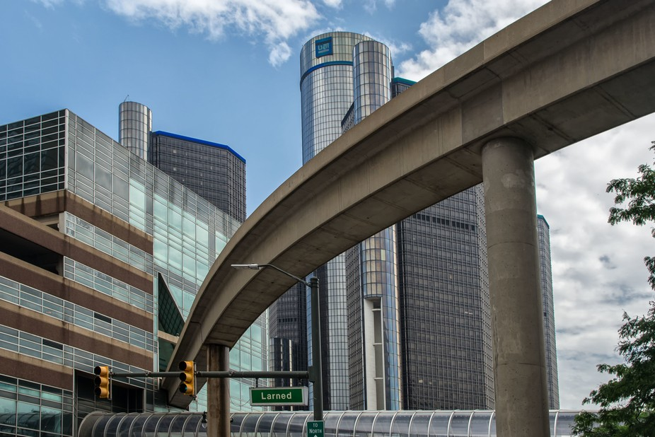 The People Mover,  Renassiance Center and Larned Street, Detroit