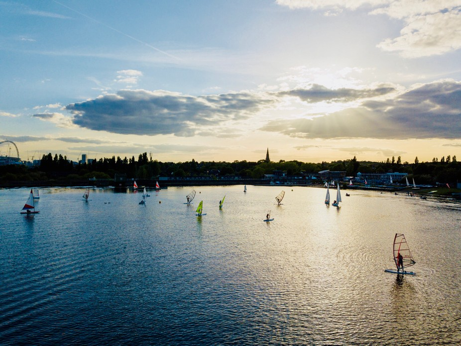 Welsh Harp Resevoir London, Wind Sailing night, summer Solstace. Mavic Pro Drone