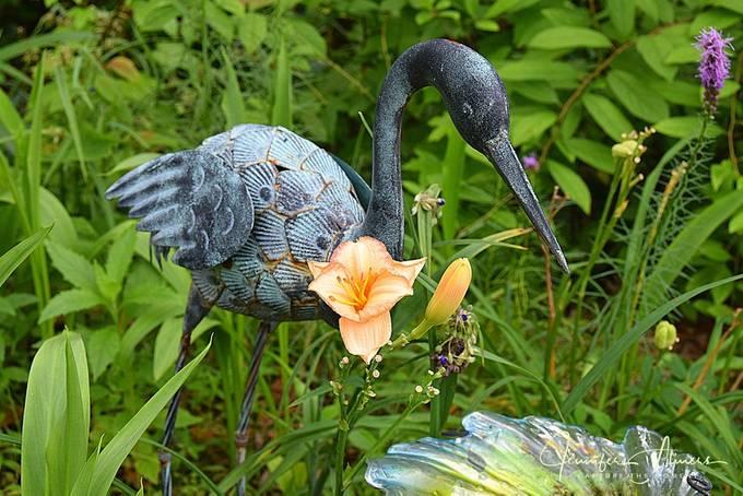 Bird Statue with Daylily