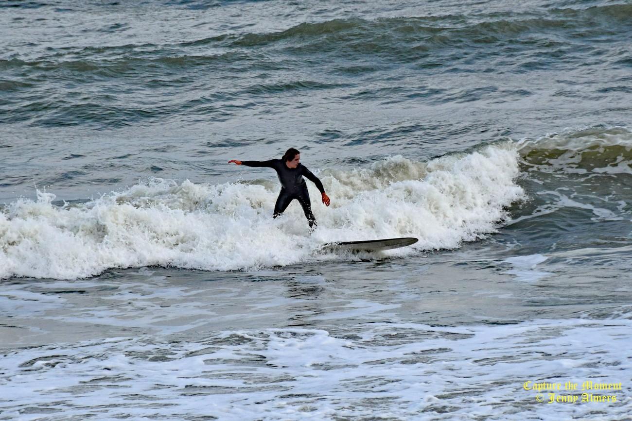 Surfer at Folly Beach
