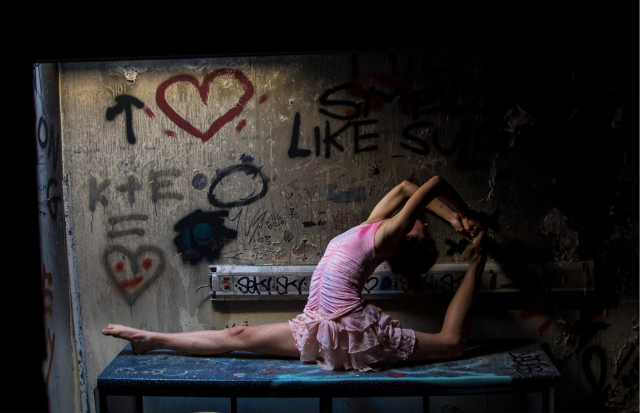 Pink Dress - taken in an abandoned warehouse!