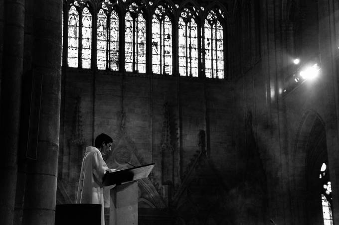 The smoke and the lights definitely gave this image a beautiful mood.  This was taken at Notre Dame in Paris during Mass.