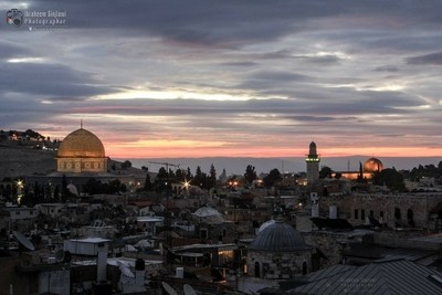 The old city of Jerusalem at the sunrise