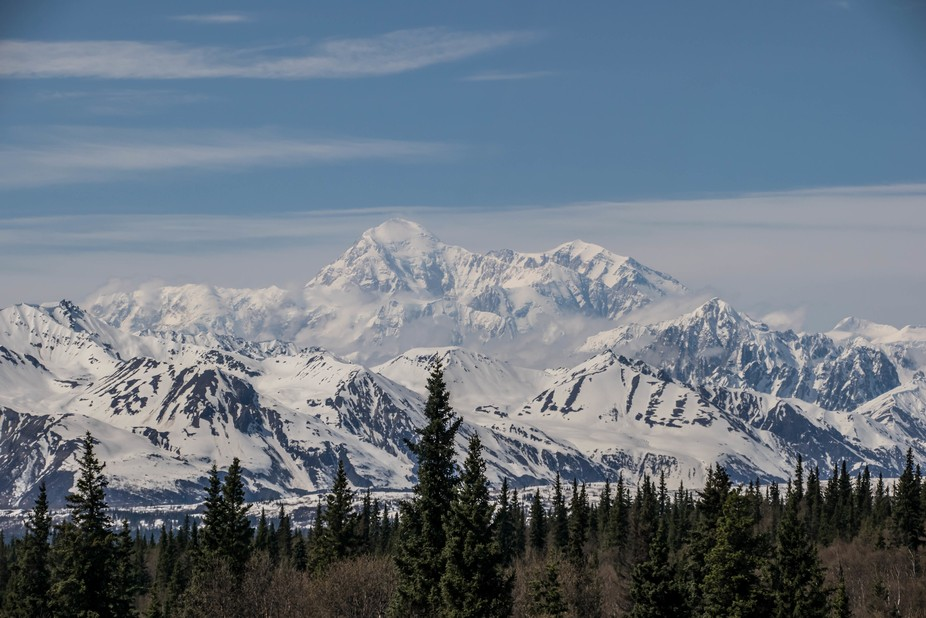 Mt Denali as seen from the Mt McKinley Explorer train