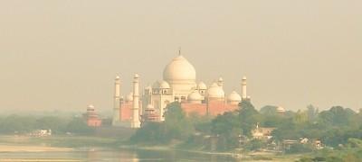 Taj Mahal closer view from acros the river