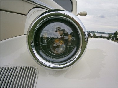 Reflections in the eye of a '39 Pontiac 'Opera' coupe
