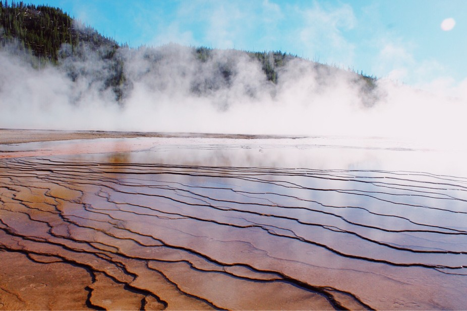 This photo was taken in yellowstone national park at the grand prismatic pools.
