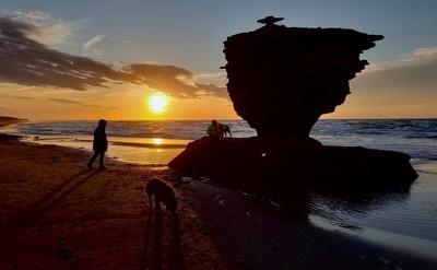 Sun setting behind the Tea Pot