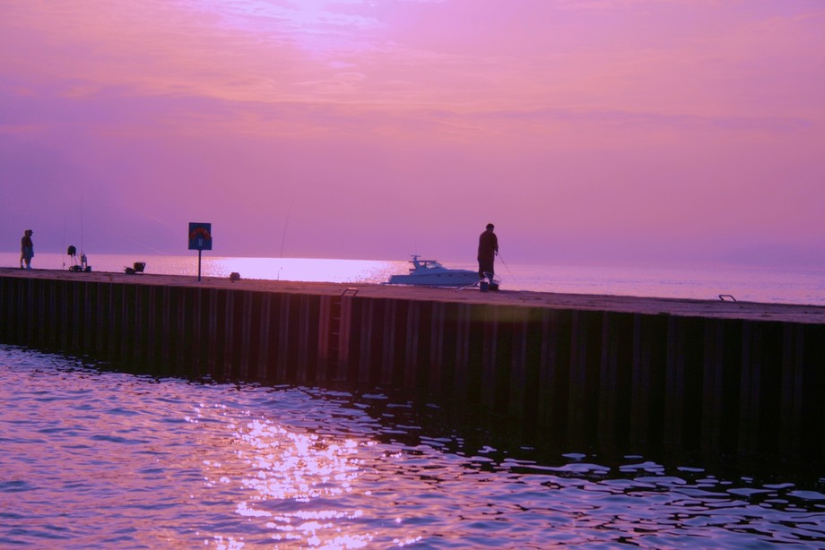 You can only get this image from a boat leaving South Haven, Michigan, at the mouth of the Black River near sunset.