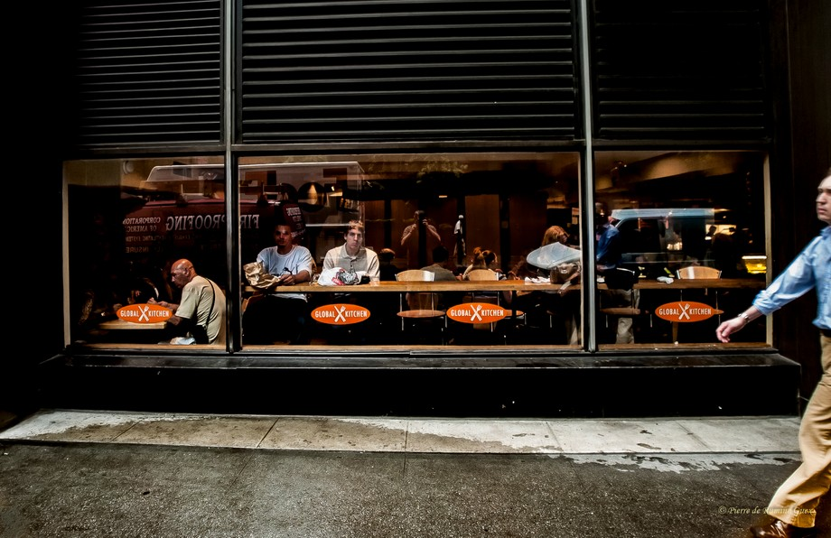 Fast food window with view on street in New York NY